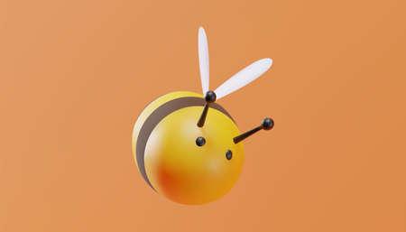 Cute bee in cartoon style. 3D illustration. Vector.