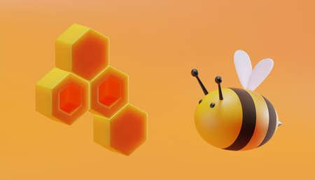 Cute bee with honeycomb in cartoon style. 3D illustration. Vector.