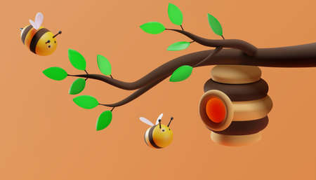 A beehive hanging on a branch. Sweet little bees flying. 3D illustration. Vector. 向量圖像