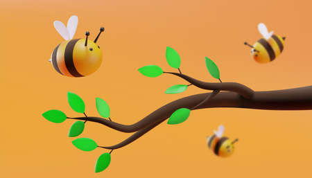 Sweet little bees are flying around tree branch with green leaves. Sweet little bees flying. 3D illustration. Vector.