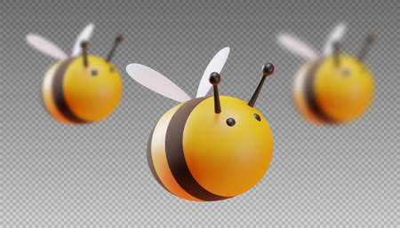 A set of bees in focus and out of focus. Two blur step. Cartoon style. 3D illustration. Vector. 向量圖像