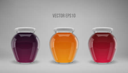 A set of glass jam jars with lids. Realistic 3D illustration. Vector.