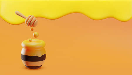 Sweet little bees flying around a pot of honey. Dripping honey background. 3D illustration. Vector. 向量圖像