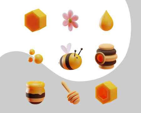 A set of elements on the theme of bees and honey. Cartoon 3d style. Isolated objects. Vector.