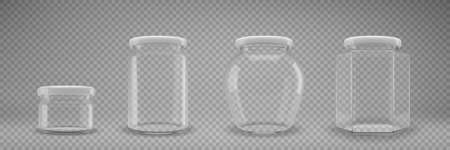 A set of glass jam jars with lids. A transparent jar with a white lid. Realistic 3D illustration. Vector 向量圖像