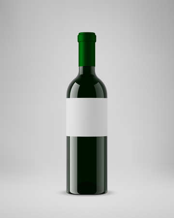 Isolated wine bottle with horizontal label. 3D illustration. Vector.