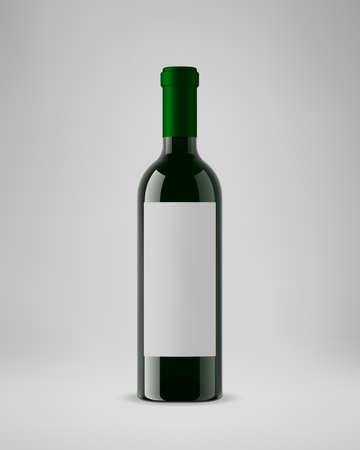 Isolated wine bottle with vertical label. 3D illustration. Vector. 向量圖像