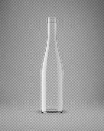 Transparent wine bottle isolated. 3D illustration. Vector 向量圖像