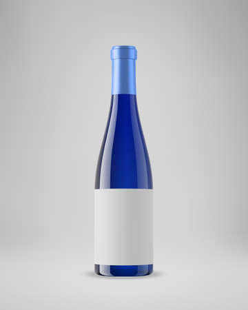Isolated blue wine bottle with horizontal label. 3D illustration. Vector.