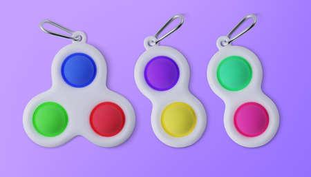 Set of different fidget toy Simple Dimple. Realistic vector 3D illustration. Ilustração