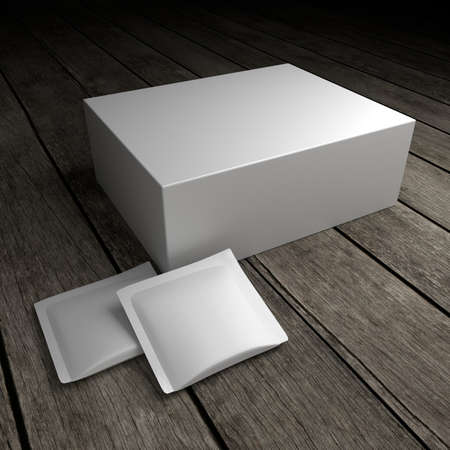 Blank product package on the old wooden floor. 3D Illustration.