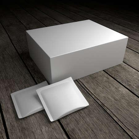 Pacchetto prodotto vuoto sul vecchio pavimento in legno. illustrazione 3D.