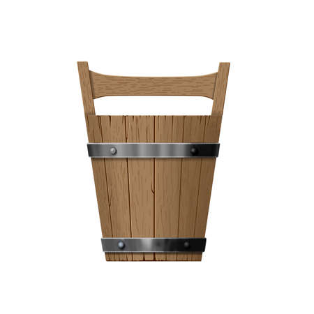 Vintage Illustration. Front View of Wooden Sauna Bucket isolated on White Background