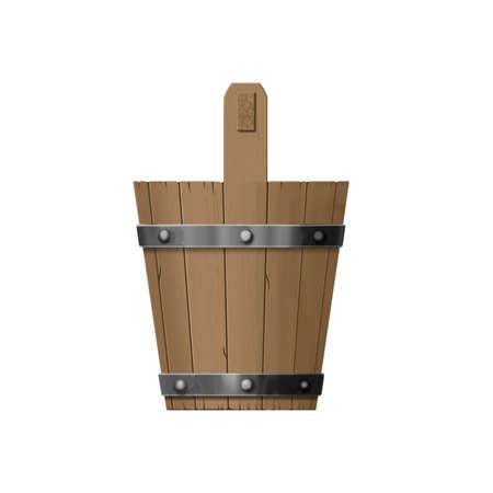 Vintage Illustration. Side View of Wooden Sauna Bucket isolated on White Background Standard-Bild