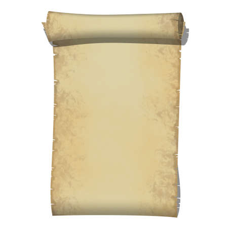Old Paper Scrolled on White Background