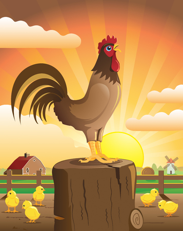 crowing: A farmhouse with a rooster crowing and chicks on a fence post at dawn