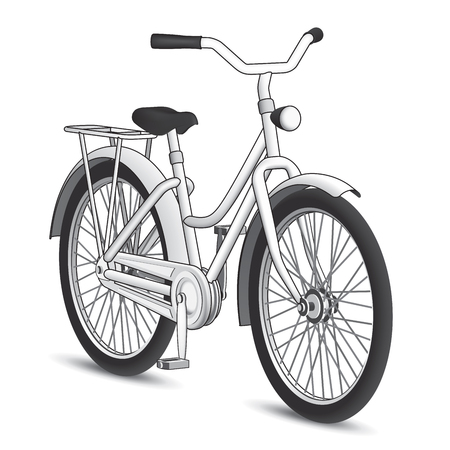 locomotion: Black and White Bicycle with a heavy black stroke vectorized