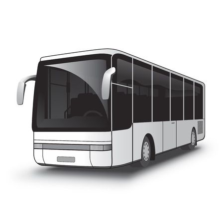 bus parking: Black and White City Bus with a heavy black stroke vectorized