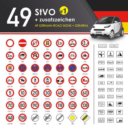49 StVO + Zusatzzeichen #1 (49 German Road Signs #1) Illustration