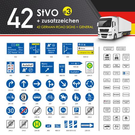 Vecteur - 49 StVO + Zusatzzeichen # 3 (49 allemands Road Signs # 3) Vecteurs