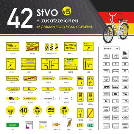 pedestrian crossing: Vector - 49 StVO + Zusatzzeichen #5 (49 German Road Signs #5) Illustration