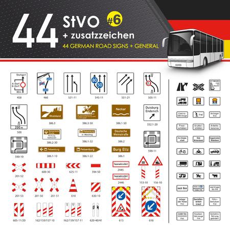 autoscuola: Vettore - 49 StVO + Zusatzzeichen # 6 (49 tedeschi segnali stradali # 6) Vettoriali