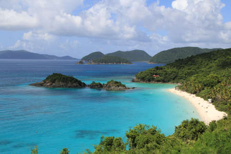 st john: Picturesque shot of Trunk Bay in St. John, US Virgin Islands. Can be used for a background shot. Embodies the feeling of tranquility and relaxation.