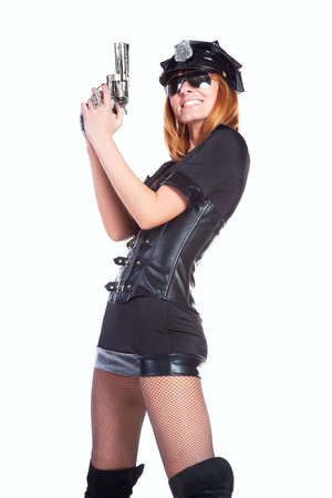 Sexy girl in police uniform on a white backgraund Stock Photo - 12050031