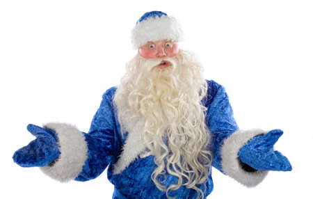 Surprised Santa Claus on a white background photo