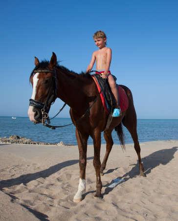 A boy on horseback rides on the beach