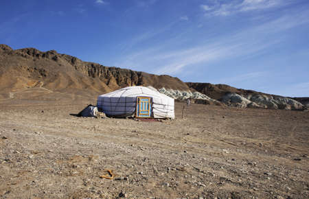 harsh: traditional dwelling of Mongolian nomadic yurt, a safe haven in a harsh climate Stock Photo