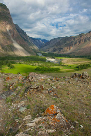 River gorge in the mountains Chulyshman Russian Altai Stock Photo