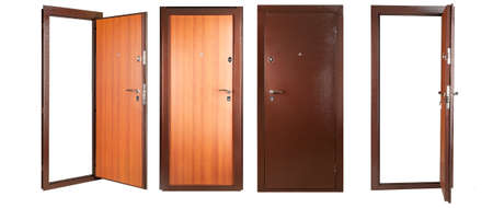 Steel doors lined with white oak on white background photo
