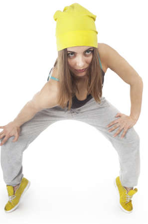 Young woman doing sport exercises  On a white background Stock Photo - 13453334