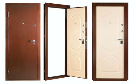 view of a wooden doorway: Steel doors lined with white oak on white background