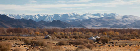 traditional dwelling of Mongolian nomadic yurt, a safe haven in a harsh climate Stock Photo