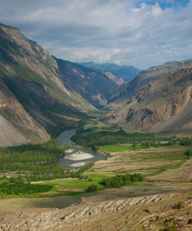 altai mountains: River gorge in the mountains Chulyshman Russian Altai Stock Photo