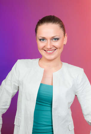 young woman smile front of red background photo
