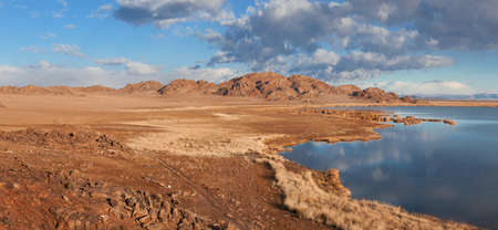 independent mongolia: Achitnoor lake in the Mongolian steppe in the autumn Stock Photo