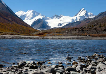 Mountain lake at the border of the Altai and Mongolia photo