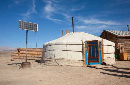 Yurt in Mongolia, old and new, traditional and mod photo