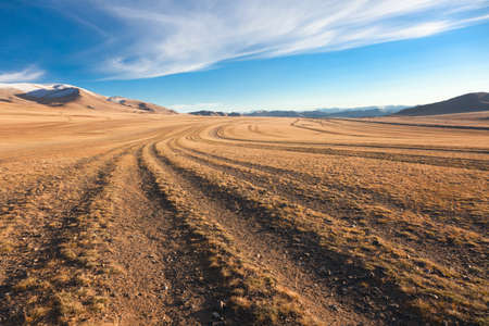 desert scenes: The road in the desert. Central Asia between the Russian Altai and Mongolia