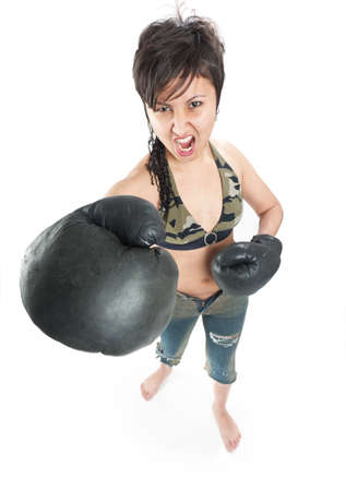 Asian girl with boxing gloves photo