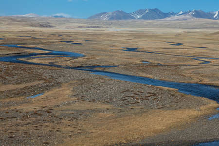 The mountain river in the steppe photo