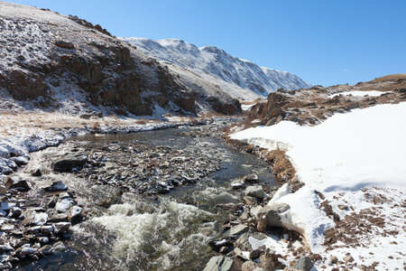 independent mongolia: The mountain river in the steppe