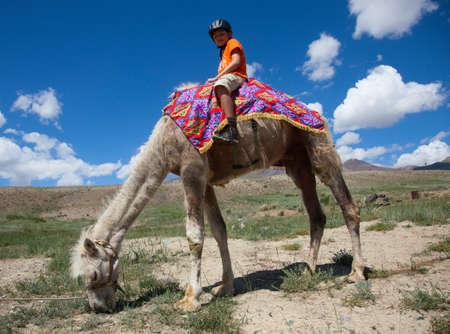 Boy riding astride Bactrian camel Standard-Bild