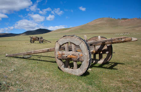 mongolia horse: Horse cart outdated design. Mongolia Stock Photo