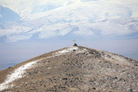 shamanism: Prayer pyramid in the mountains. Shamanism Stock Photo
