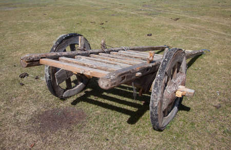 horse cart: Horse cart outdated design. Mongolia Stock Photo