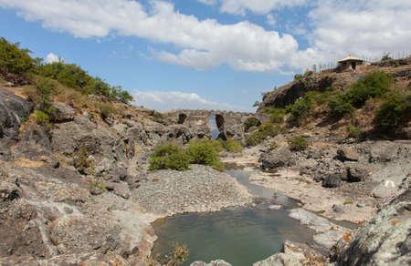 rift: Ethiopia.Addis Ababa, December 15,2013. Portuguese bridge in Ethiopia. Rift valley. region of Debre Libanos.